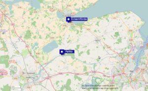 Karte FeWo Sehestedt mit Umgebung (Eckernförde, Kiel, Rensburg). Karte von openstreetmap.org